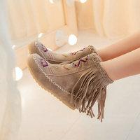 Large size Hot sale autumn&spring  women shoes round toe wedges tassel ankle bootsZ1XW-601
