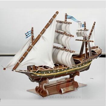 Diy 3d jigsaw puzzle assembling toys 3d warsaws boat(China (Mainland))