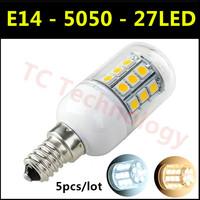 Hot SMD 5050 E14 LED Lamp 3W 27led AC 110V-220V Warm White/White 360 Degree Light angel Corn Bulb For Christmas Lights 5pcs/lot