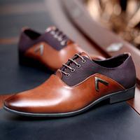 Free shipping 2014 new men's fashion dress flats brand Genuine Leather wedding brown/black Oxford shoes for man CHFA128