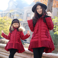Free shipping! Family fashion winter 2014  outerwear thickening woolen patchwork down coat thermal for mother and daughter