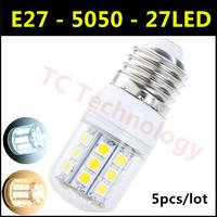 2014 SMD 5050 E27 LED Lamp 3W 27led AC 110V-220V Warm White/White 360 Degree Light angel Corn Bulb For Christmas Lights 5pcs/lot