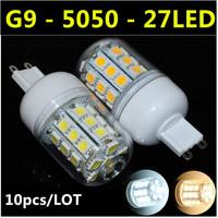 Ultrabright SMD 5050 G9 LED Lamp 3W 27led AC 110V-220V Warm White/White Corn Bulb For Christmas Lights Free Shipping  10pcs/lot