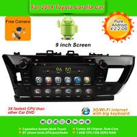 Pure Android 4.2.2  9''Car DVD Player for TOYOTA corolla 2014, AutoRadio,GPS,Navi,Multimedia,Radio,Ipod,Free Cam,Free shipping