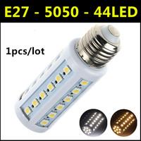 2014 High brightness energy-saving LED Lamp SMD 5050 E27 44LED 9W AC 110V-220V  Warm White/White Christmas Lights Corn Bulbs