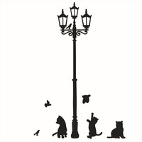 Free Shipping 1PC Decorative Removable Lamp Cat Wall Stickers Decal for Home Stairs Sticker Decals