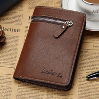 New High Quality Men Leather Fashion Business Zipper Wallet Credit Card Holder Vintage Purse Coin Holder