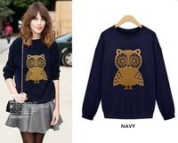 2014 Autumn New Women Casual Cute Owl Print Loose Sweatshirt Hoodies Plus Size M-XXL Pullover Sports Wear Thin Coat