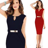 2014 New Women Summer Dress Sexy V-Neck Slim OL Sleeveless Casual Vestidos Elegant Party Dresses Work Wear  D042