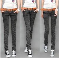 Autumn new arrival slim show thin black gray color jeans woman clothes bottoms,plus size snow denim calca jeans feminina Cheap