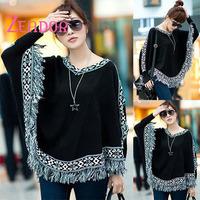 ZEADOR Woman Fashion Knitwear Patchwork Ivory/Pink/Black Long Sleeve Women Tops New Design Cape Cloak Sweater