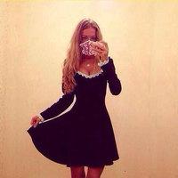 Vestidos de festa 2014 New Fashion Women's Autumn Winter Dresses Elegance Lace V-neck Long-sleeved Sexy Dress