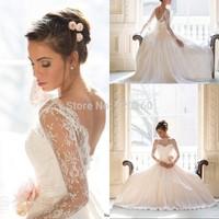 Lace Long Sleeves Stunning High Neck Wedding Dress Full Length Sweep Train Chiffon Backless Bridal Gown 2014 Vestido de noiva