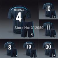 2014 chelsea third black soccer jerseys short football kits uniforms shirts diego costa fabregas oscar hazard drogba schurrle