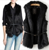 Fashion New Winter Warm Women's Faux Fur Vest Knitted Tops Black Wool Vest Free shipping