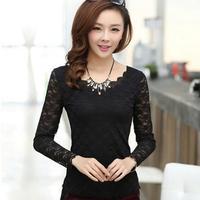 2014 NEW Women's Tops Lace Chiffon Blouses Flounced Hem-Neck Long Sleeve Blusas Plus Size Flounced Hem Shirts Female Blouses