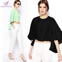 Blusas Femininas Women Chiffon Blouses 2014 New Fashion Casual Novelty Irregular Hem Crop Tops Women's Clothing Plus Size XXL
