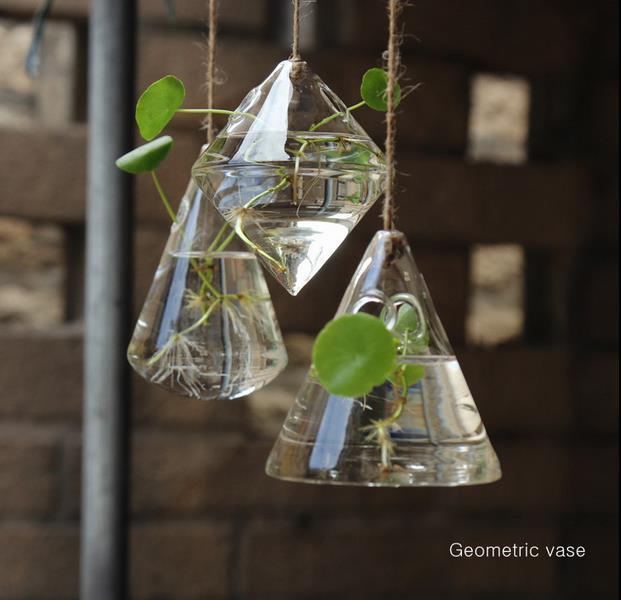 Free Shipping Irregular Geometric Vase Glass Vessel Hanging Planters Flower  Pots/Water Planter Vase Set including 3 pieces - Best Wholesale Home Decor Creative Glass Vase Water Planting Glass