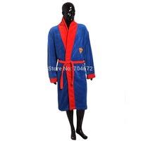 Superman Adult Bathrobe Winter Warm Sleepwear Robes Men Nightgown High Quality