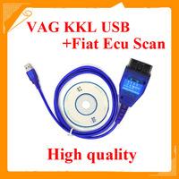 High quality VW COM KKL USB + KKL Fiat Ecu Scan Diagnostic Scanner Ecu ScanKKL+ Fiat ECU Scan 2in1 free shipping
