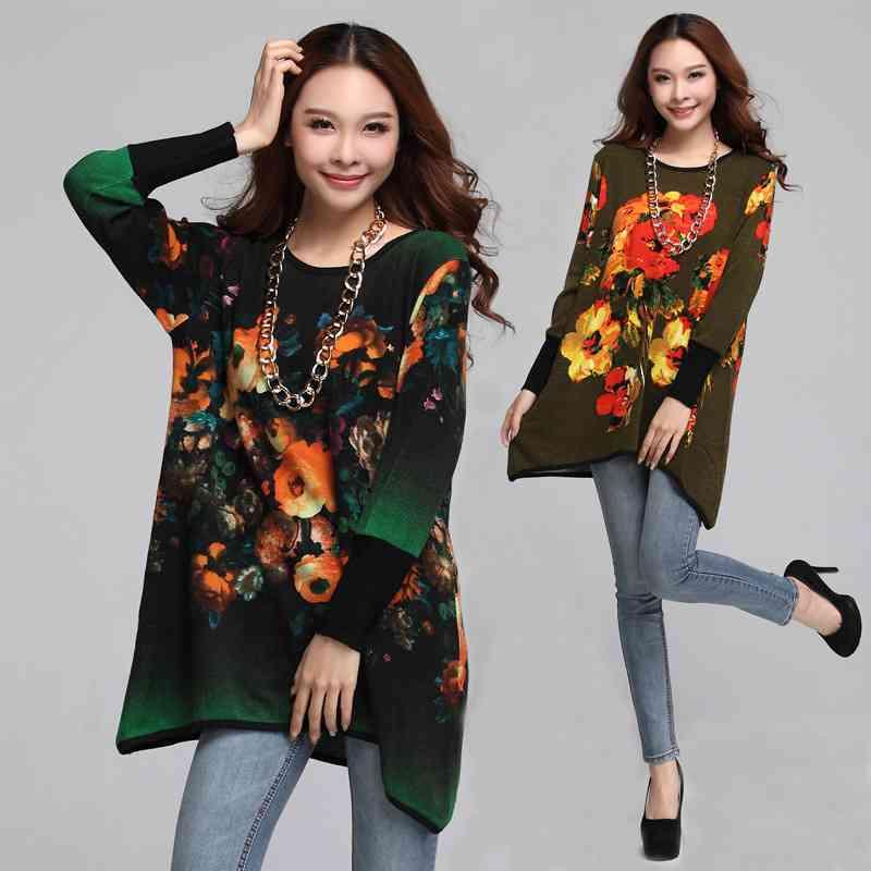 size womens clothing long front short back long hair in 2015 new printing shirts(China (Mainland))
