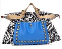 Free shipping 2014 women's spring handbag national vintage handbag trend one shoulder cross-body rivet bag canvas bag