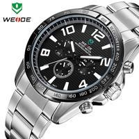WEIDE 2014 luxury brand quartz watch fashion casual sports full men watch steel waterproof 6 colors male clock wristwatch