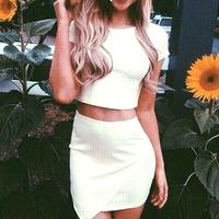 New Fashion 2014 vestidos White Two Piece Bandage Dress Short Sleeve Casual Mini Dresses