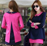 Hot selling 2014 winter dress plus size women Korean splicing two fake doll collar dress  two pieces dress casual women dress