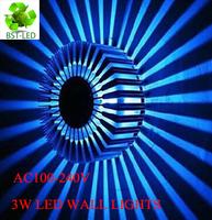 1X 3W New LED Modern LED Wall Light R/W/G/B/Y/P color lamps Aluminum for  Bedroom Corridor Porch, Background Light AC100-240V CE