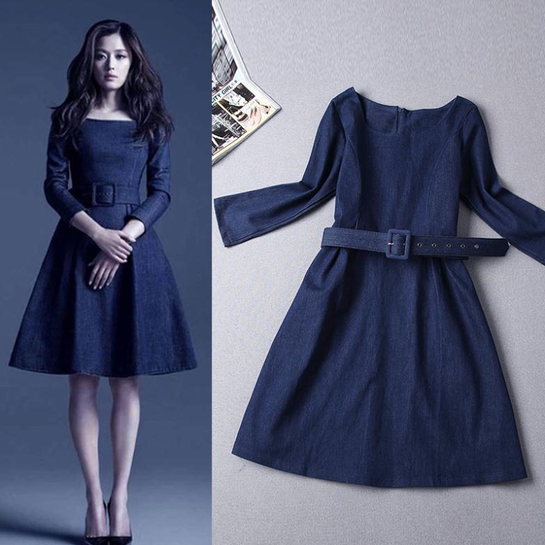 2015 Sale Limited Women Dress Vestidos Free Shipping Vestido De Festa Autumn Women's Exquisite Slim Belt Denim Dress(China (Mainland))