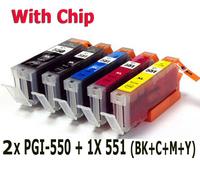 6 ink cartridge (1set+1BK) Compatible PGI-550 CLI-551 for Canon printer Pixma IX6850 MG5450