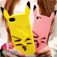 Pokemon Monster Pikachu silicone cartoon soft cute case back cover for Apple iPhone 4 4S 5 5S