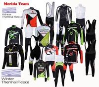 High quality!2014 Merida Bike MTB Winter Thermal Fleece Cycling Long Jersey bib Pants Kits Ropa Ciclismo Clothing C67