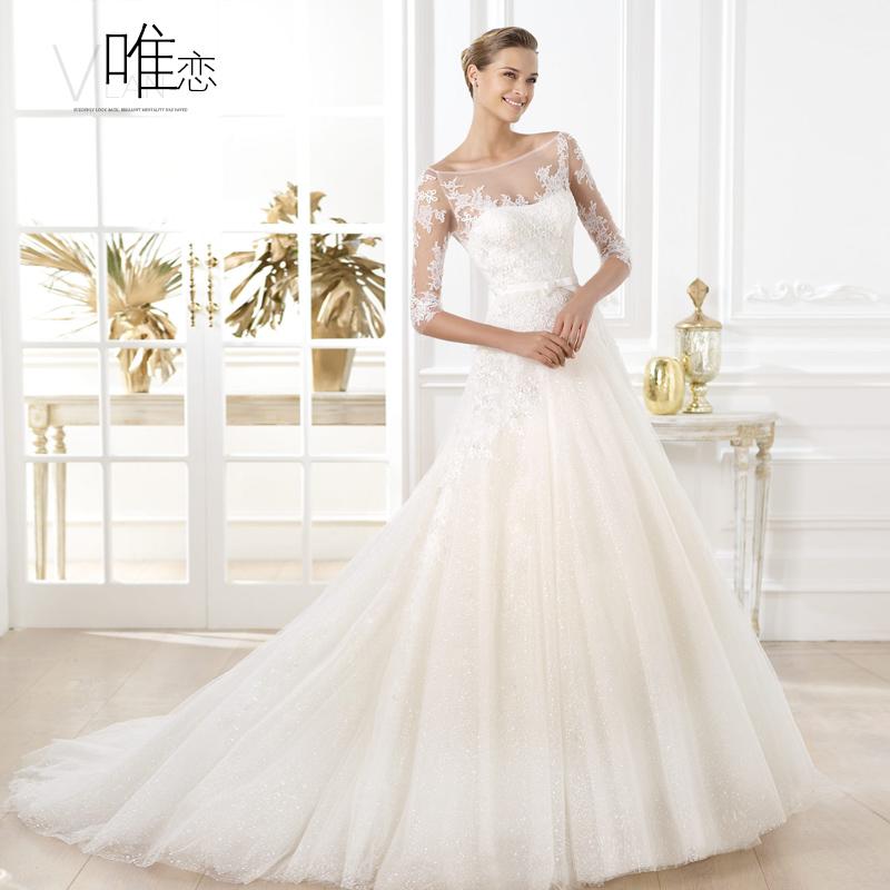 A única de fios de cristal alta tailing cinco quartos amor manga retro rendas manguito flash 2014 novo primavera vestido de casamento branco(China (Mainland))