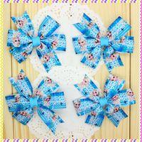 3.1'' Free shipping frozen elsa Ribbon Bows with hair clip headband headwear hairbow diy decoration wholesale OEM P3550