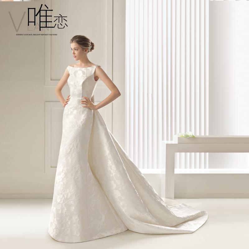 só o amor simples backless noiva cetim cintura arnês do casamento fishtail vestido 2014 qi cauda(China (Mainland))