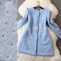 2014 Winter Coat Ladies Small Beaded Medium-long Woolen Overcoat Women's Outerwear Female Plus Size L XL