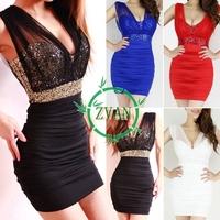 Sexy Low-Cut Backless Sequin Empire Waist Sleeveless High Waisted Ruffled Mesh Mini Club Party Dress Clubwear