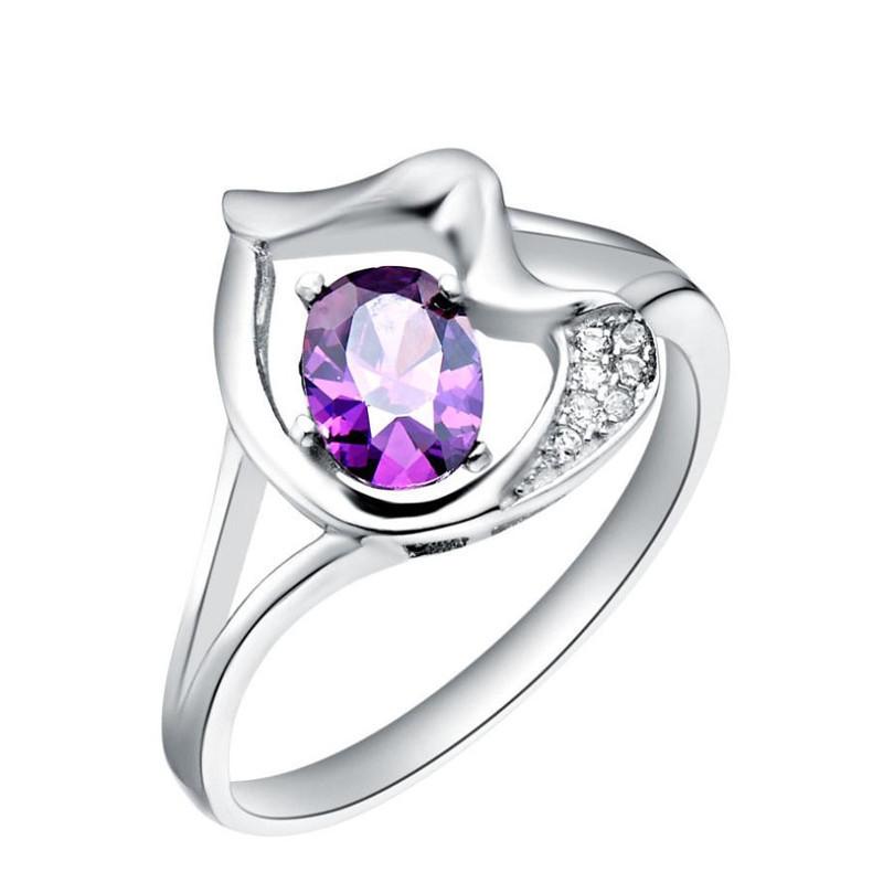 Hot Selling j230 Purple Erc Zircon & Austrian Crystal & 18k Platinum 925 Sterling Silver Rings Fashion Women Jewelry(China (Mainland))