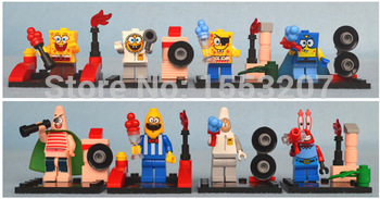 *Sponge Bob minifigure set* anime doll DIY enlighten block bricks compatible with lego for children kids assembling toys 8/set
