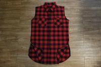unique side zipper oversized Red Plaid Shirt  Sleeveless flannel casual slim fit brand designer pyrex hba tartan swag shirt