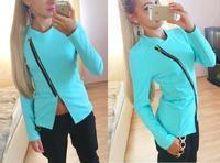 2015 Fashion Jacket Women Winter Coat Oblique Zipper Lady Slim Blazer Outerwear Jackets Woman's Jacket  W39