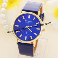 100pcs/lot Hot Sale Blue Leather Geneva Watches Fashion Women Dress Quartz Men Casual Sport Wristwatch Wholesale Classic Watches