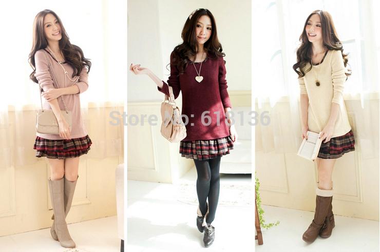 Winter Autumn Dress Women Knitting Dress Pleated Slim Design Ruffles Patchwork Fake 2PiecesTricot vestidos M-XL ladies clothes(China (Mainland))