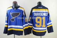 Free Shipping Men's Hockey Jersey St. Louis Blues Jersey #91 Vladimir Tarasenko Ice Hockey Jersey Embroidery Logos Jersey