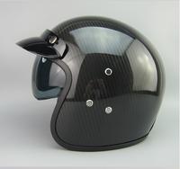 Free shipping, SNAKE Cobra High carbon fiber helmet lined with a small lens retro leather helmet motorcycle helmet half helmet.