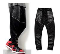 Hi-Street  Men Big Pu Pocket zipper Harem Pants Hip hop Casual Sport  Sweatpants