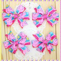3.1'' Free shipping peppa pig Ribbon Bows with hair clip headband headwear hairbow diy decoration wholesale OEM H3080