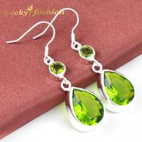 New Arrival 925 Silver Purple&Green Water Drop Crystal Topaz Drop Earrings+Factory Price For Women Jewelry